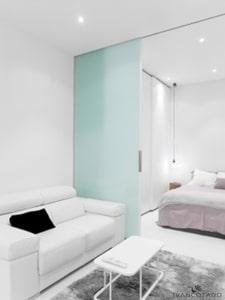Iluminación Residencial. Mini apartamento en Madrid. Luz halógena.