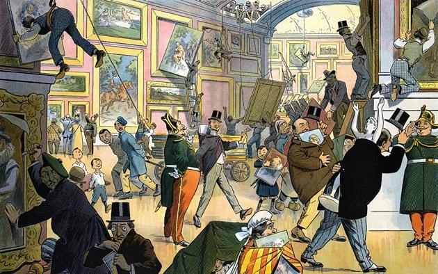 """Cómo te puede engañar un interiorista. Ilustración de Samuel D. Ehrhart, """"Daily scene in the Louvre""""."""