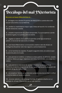 Decálogo del mal INteriorista, infografía diseñada por Iván Cotado sobre errores a evitar