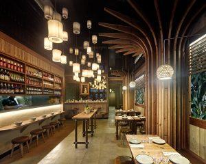 Vista interior en diseño de restaurante Koh Lanta en A Coruña (Galicia)