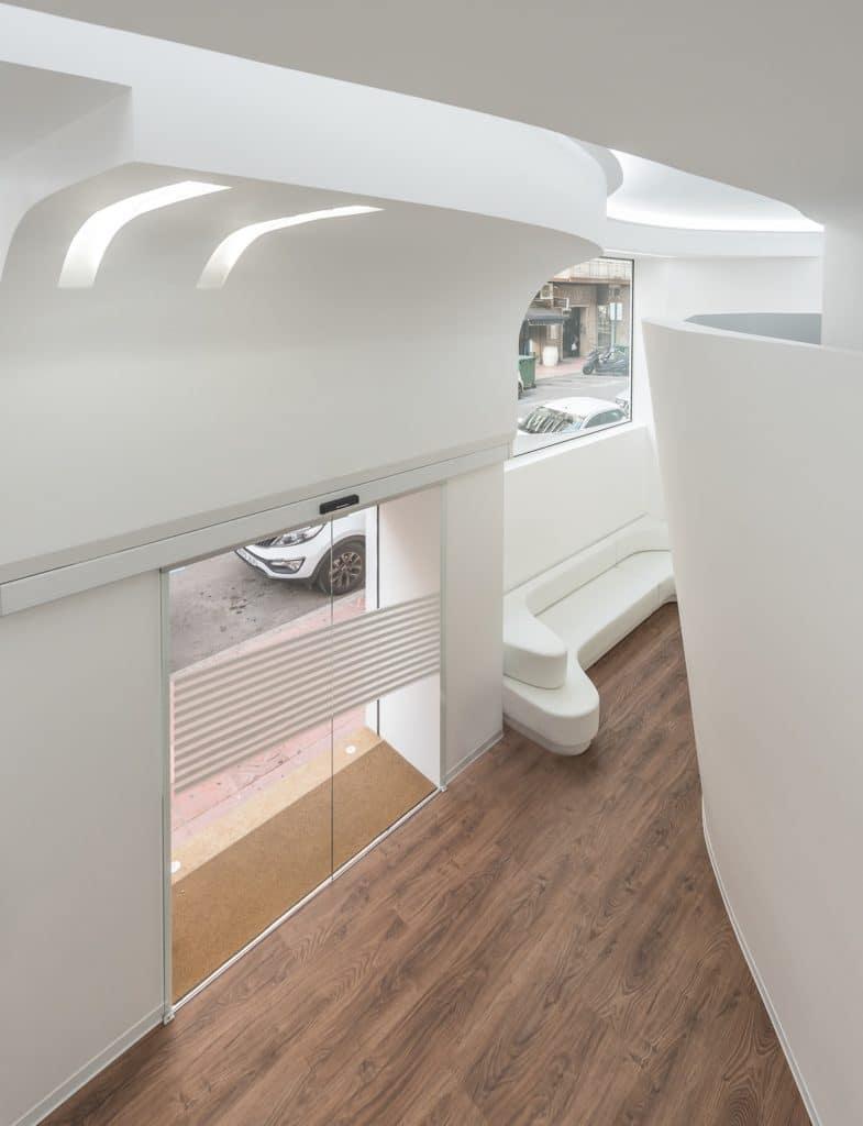 Vista superior sala de espera en Diseño Clínica Ginecología y Obstetricia en la Comunidad Valenciana